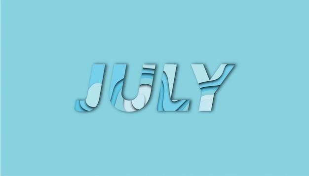 Letras de julho com formas de corte de papel
