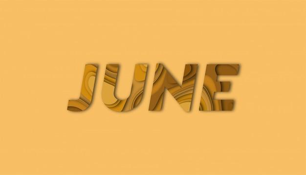 Letras de junho com formas de corte de papel