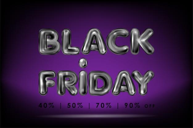 Letras de látex preto sexta-feira negra em violeta