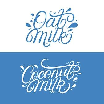 Letras de leite de aveia e coco