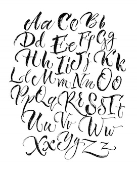 Letras de letras maiúsculas e minúsculas preto rabiscando