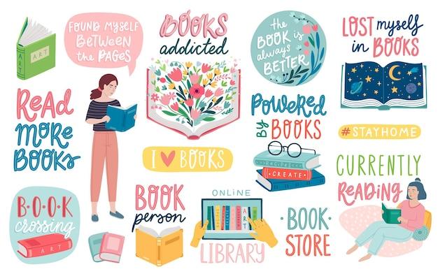 Letras de livros lendo pessoas e outros elementos conjunto de citações motivacionais ilustração plana