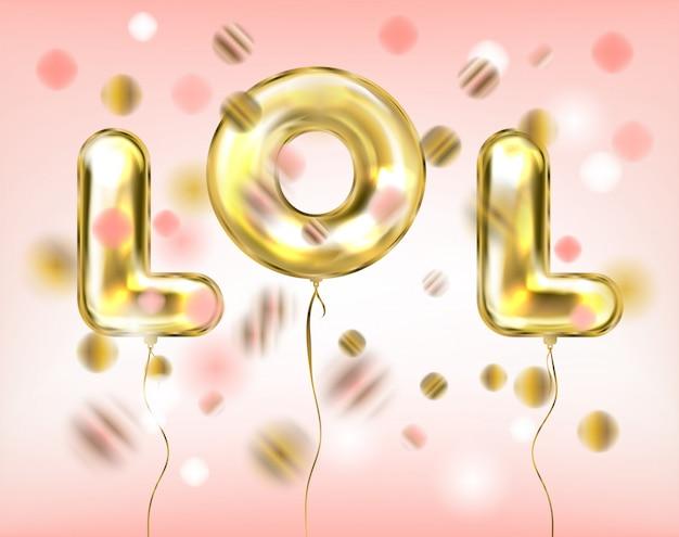 Letras de lol por balões de ouro da folha