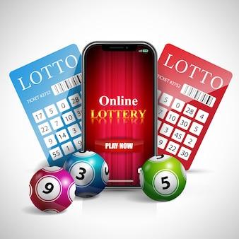 Letras de loteria on-line na tela do smartphone, bilhetes e bolas.