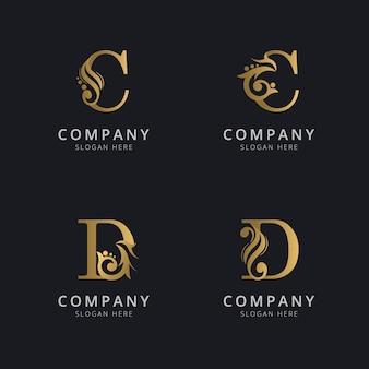 Letras de luxo c e d com modelo de logotipo dourado