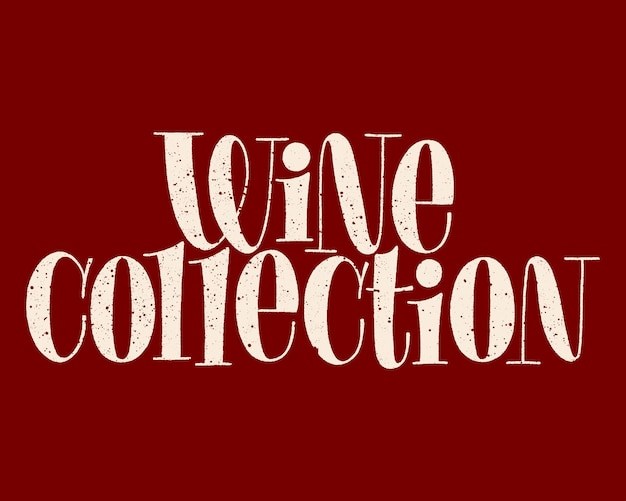 Letras de mão da coleção de vinhos