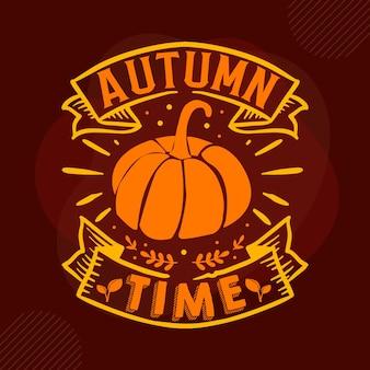 Letras de mão da hora do outono design de vetor premium