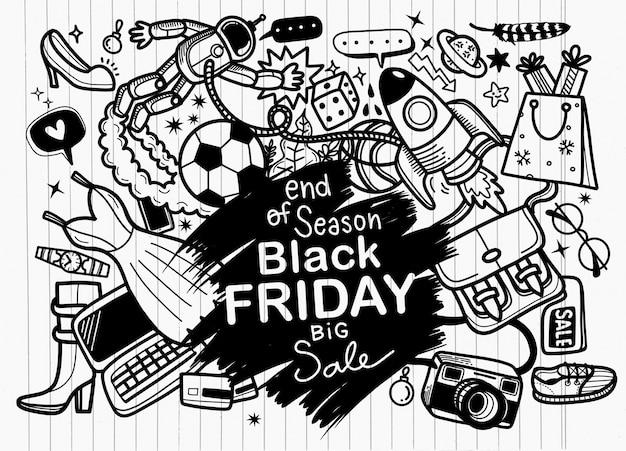 Letras de mão de venda sexta-feira negra e fundo de elementos de rabiscos.