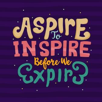 Letras de mão desenhada. aspirar a inspirar antes de expirar