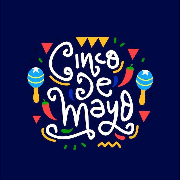 Letras de mão desenhada cinco de mayo