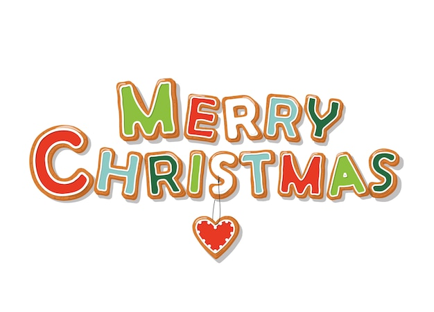 Letras de mão desenhada de biscoito de gengibre de natal feliz