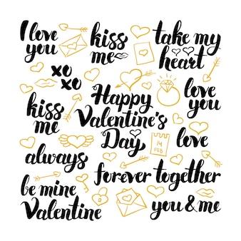 Letras de mão desenhada de dia dos namorados. ilustração em vetor de amor caligrafia sobre branco.