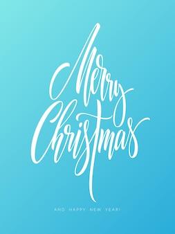 Letras de mão desenhada de feliz natal. caligrafia de natal em fundo de geada. letras de feliz natal e feliz ano novo. caligrafia gelada de natal. banner, design de cartaz. ilustração vetorial isolada