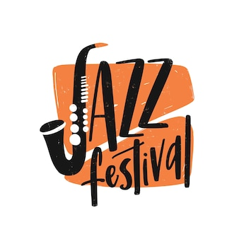 Letras de mão desenhada de festival de jazz.