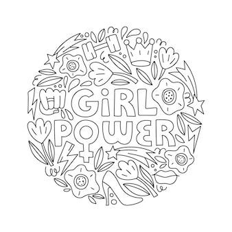 Letras de mão desenhada de vetor de poder feminino com símbolos femininos em estilo doodle. conceito de feminismo.