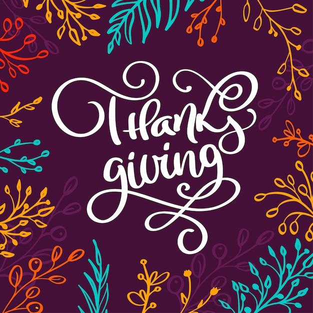 Letras de mão desenhada dia de ação de graças