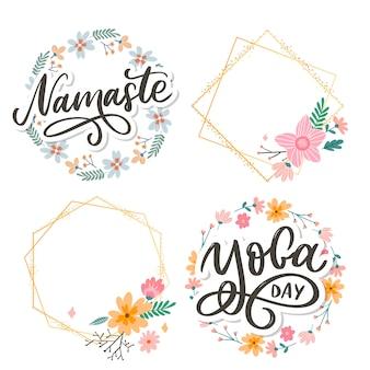 Letras de mão desenhada namastê. citação positiva.
