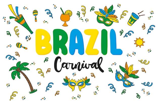Letras de mão desenhada para o carnaval brasileiro