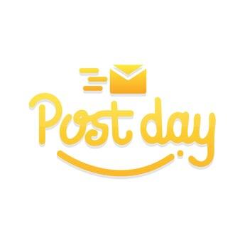 Letras de mão do dia da postagem isoladas com fundo branco