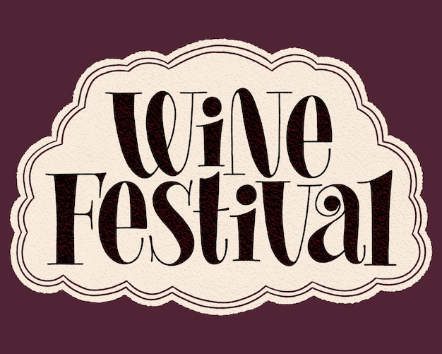 Letras de mão do festival do vinho