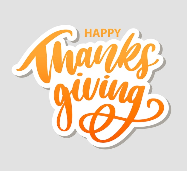 Letras de mão feliz ação de graças