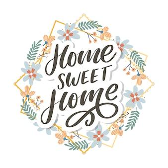 Letras de mão 'lar doce lar', letra de quarentena pandemia texto palavras caligrafia ilustração slogan