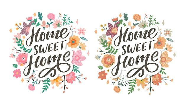 Letras de mão 'lar doce lar', quarentena letra pandêmica texto palavras caligrafia ilustração conjunto de slogan