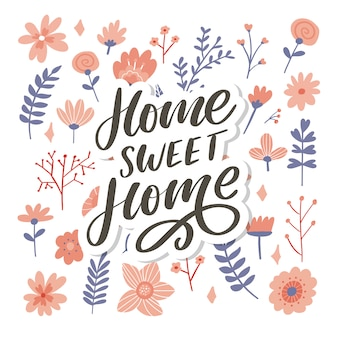 Letras de mão 'lar doce lar', slogan de ilustração de palavras de texto palavras