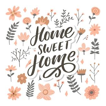 Letras de mão 'lar doce lar', slogan de texto de carta de pandemia de quarentena