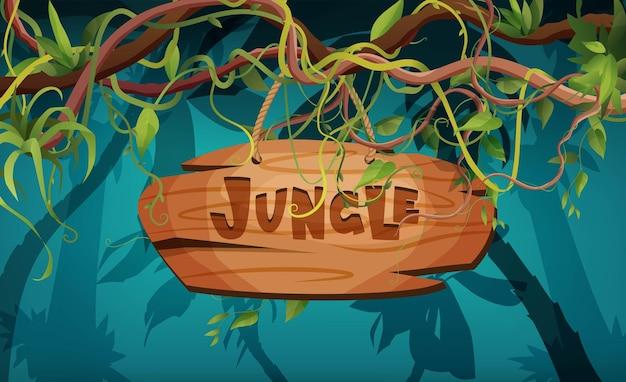 Letras de mão na selva com texto de madeira cipó ou ramos sinuosos de videira plantas trepadeiras da floresta tropical