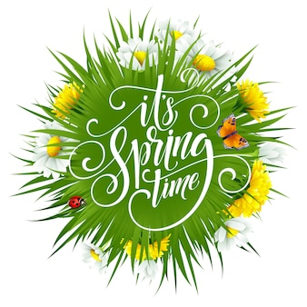 Letras de mão primavera com flores.