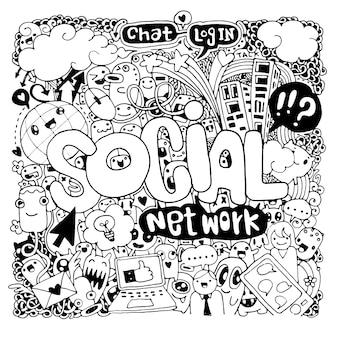 Letras de mão social e fundo de elementos doodles