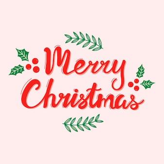 Letras de mão vermelha de feliz natal