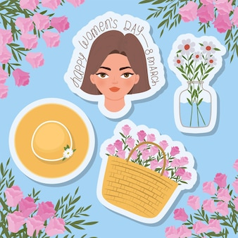 Letras de marcha feliz do dia das mulheres, linda mulher com cabelo castanho, cesto cheio de rosas e ilustração de um chapéu