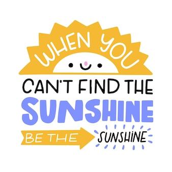 Letras de mente positiva criativa com sol sorridente
