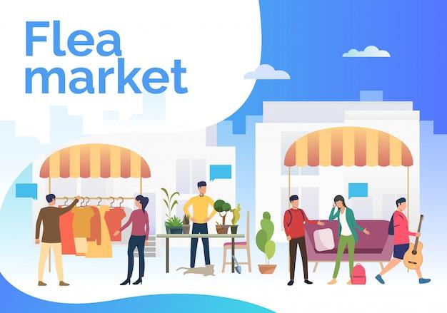 Letras de mercado de pulgas, pessoas vendendo roupas e plantas