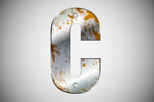 Letras de metal do alfabeto. ilustração