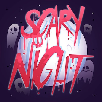 Letras de modelo de noite assustadora Vetor grátis