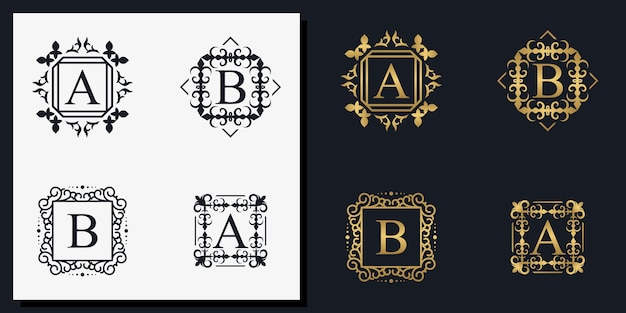 Letras de moldura de ornamento criativo a e b s