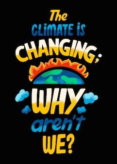 Letras de mudança climática desenhadas à mão