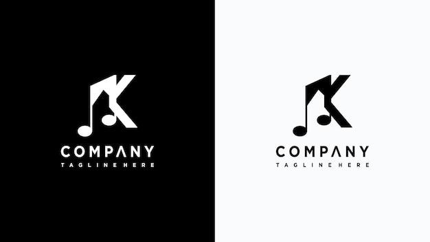 Letras de música logo design premium vector