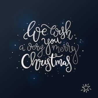 Letras de natal cartão mão desenhada em fundo preto.