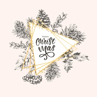 Letras de natal com galhos de árvore de natal.