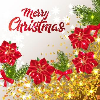 Letras de natal feliz com brilhantes confetes e poinsétia