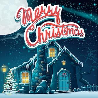 Letras de natal feliz com casa coberta de neve ao luar.