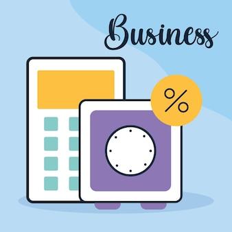 Letras de negócios, calculadora e cofre