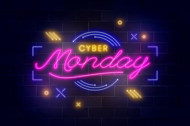 Letras de néon cibernéticas realistas de segunda-feira
