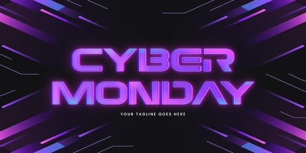 Letras de néon cibernético de segunda-feira