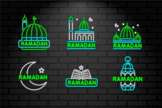 Letras de néon com tema do ramadã