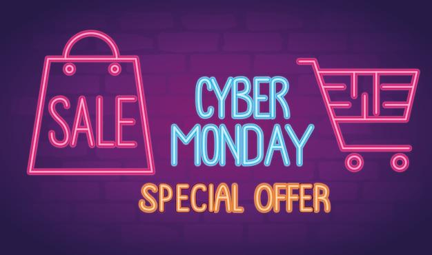 Letras de néon da cyber monday com desenho de ilustração de sacola e carrinho de compras